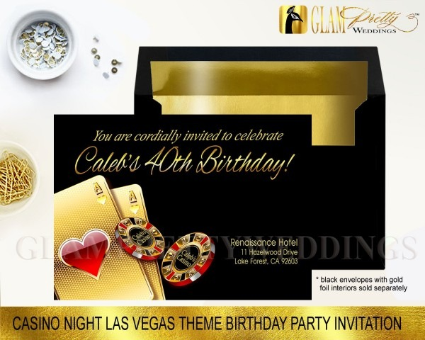 Las Vegas Theme Birthday Party Invitation Your Name In Casino