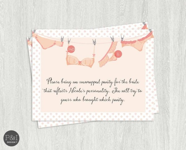 Lingerie Shower Invitation Insert  Pancakes And Panties