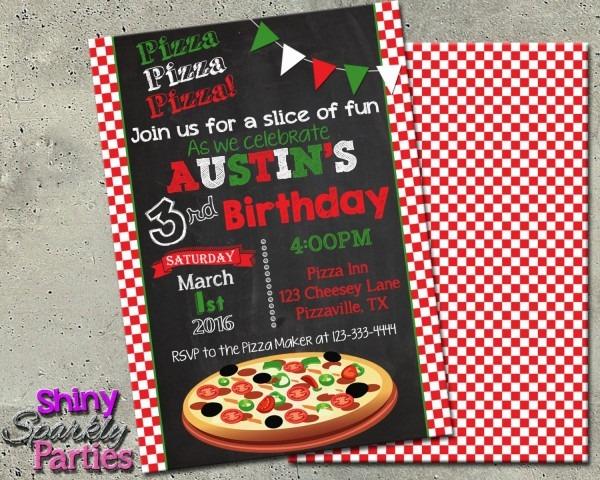 Pizza Party Invitation Pizza Invite Pizza Party Birthday