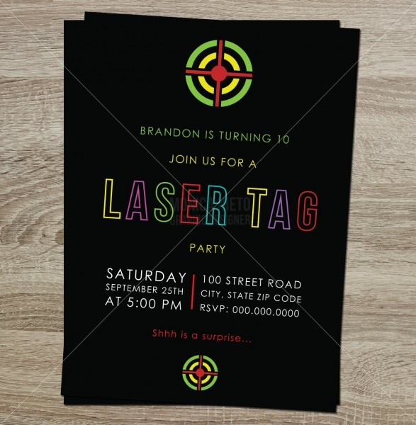 Printable Laser Tag Birthday Party Invitation   Boys Birthday