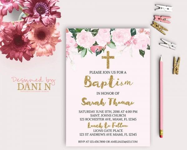 Pink Roses Baptism Invitation Pink Floral Baptism Catholic