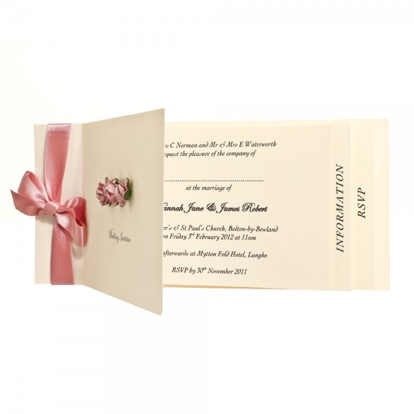 Vintage Cheque Book Style Invitation With Ribbon And Coloured