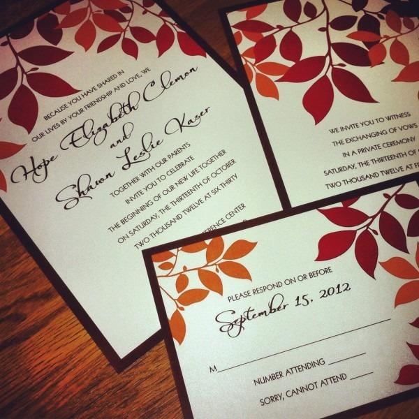 Gravy And Dessert  Fall Wedding Invitation Set
