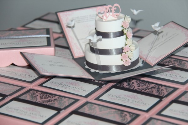 Jinky's Crafts & Designs  Pink And Gray Modern Wedding Invitations
