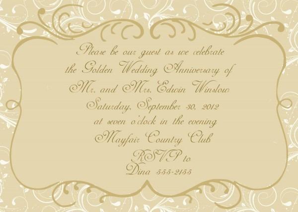 Impressive Wedding Anniversary Invitations Anniversary 50th