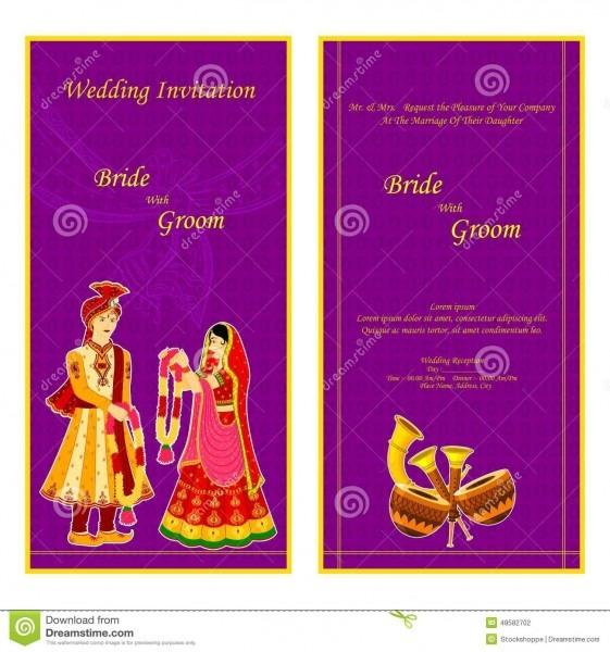 Indian Wedding Invitation Card Stock Vector