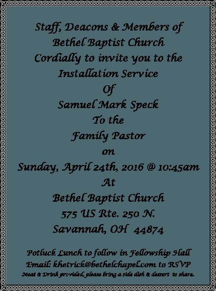 Sample Pastor Installation Invitation
