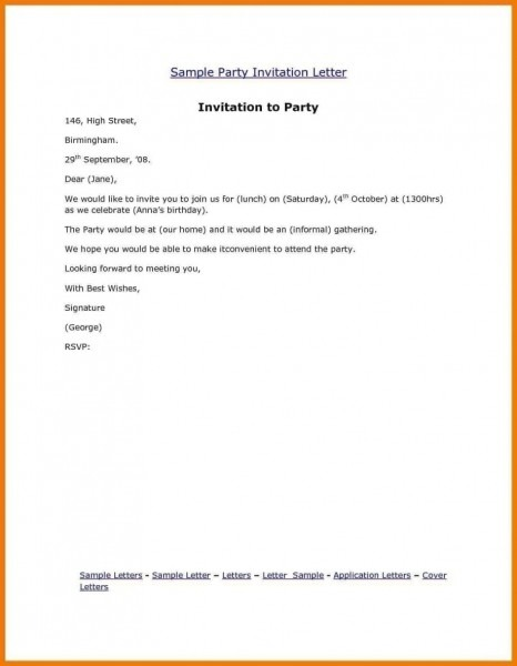 Invitation Letter Friend Sample In English Save Writing Inviting