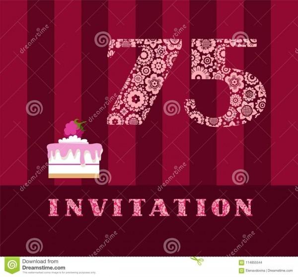 Invitation, 75 Years Old, Raspberry Pie, Vector, English  Stock