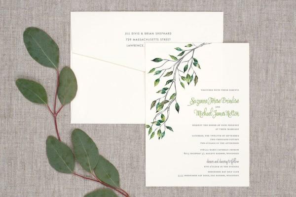 Watercolor Leaves Wedding Invitation
