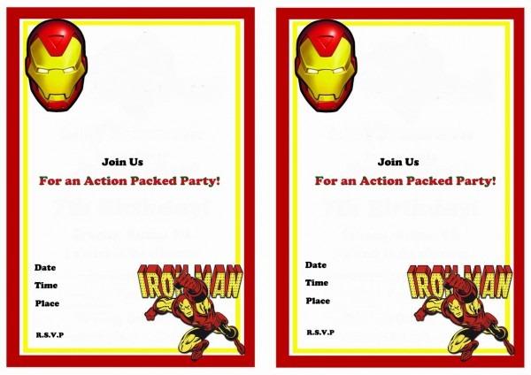 Iron Man Birthday Invitations