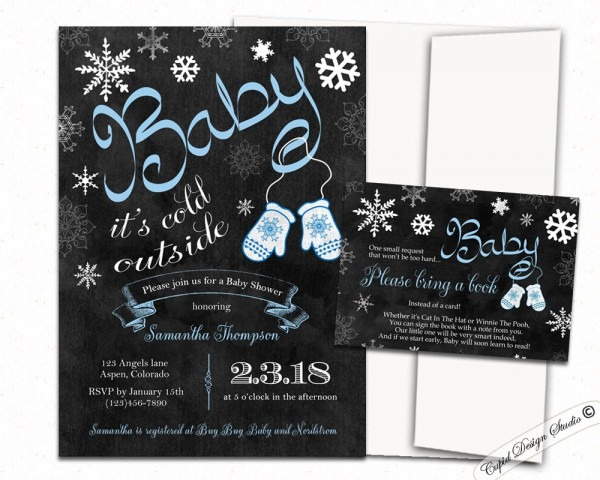 Baby It's Cold Outside Baby Shower Invitations Blue Or Pink Winter