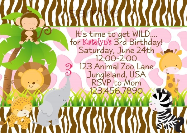 Jungle Animals Birthday Party Invitations Party Animal Invitations