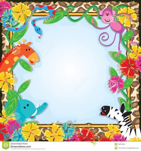 Jungle Zoo Party Invitation Stock Vector