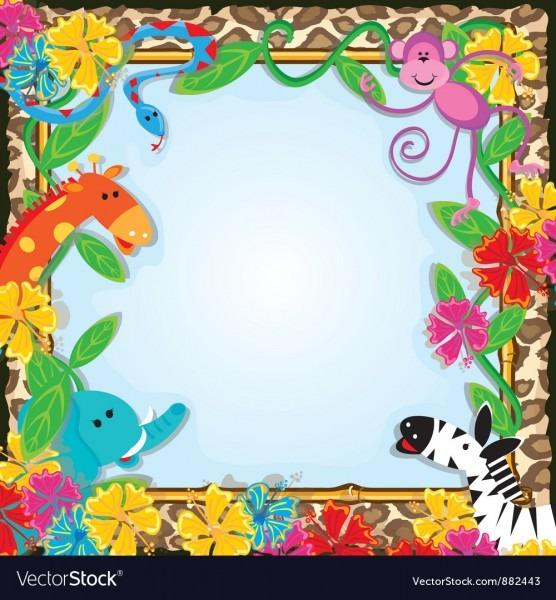 Jungle Zoo Party Invitation Royalty Free Vector Image