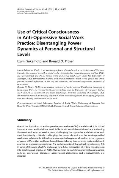 Pdf) Use Of Critical Consciousness In Anti