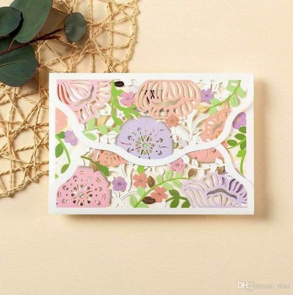 Laser Cut Wedding Invitations Cards Personalized Flowers Wedding