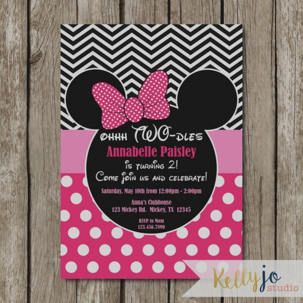 Latest Oh Toodles Birthday Invitations Pink Minnie Mouse Two Dles