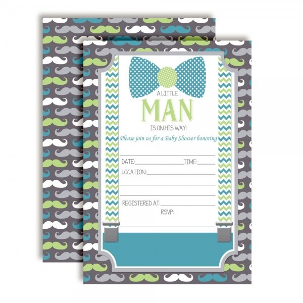 Little Man Bow Tie, Mustaches & Suspenders Baby Shower Invitations