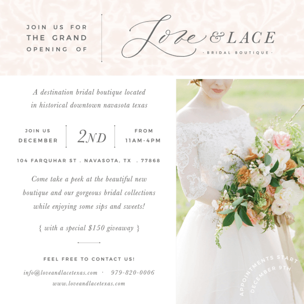 Love And Lace Grand Opening Invite