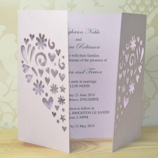 Love Laser Cut Gatefold Of 3 Fold Wedding Invite