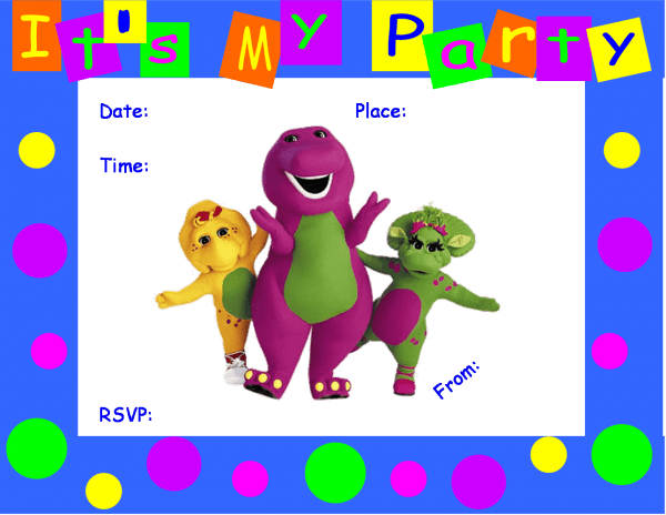 Luxury Free Personalized Barney Birthday Invitations