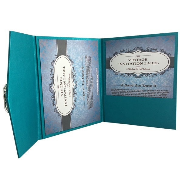 Light Teal Color Luxury Silk Pocket Fold Design For Wedding