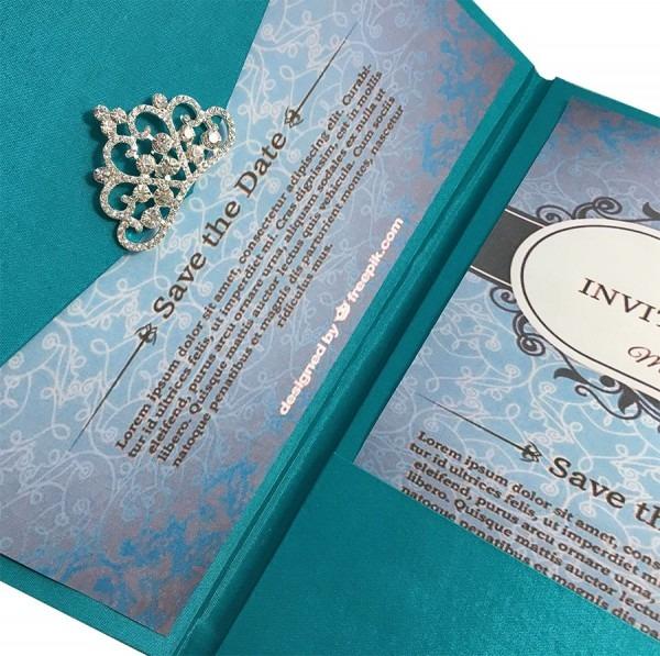 Light Teal Color Luxury Silk Pocket Fold Design For Wedding