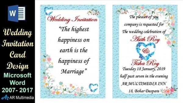 Ms Word Tutorial  Professional Wedding Invitation Card Design In