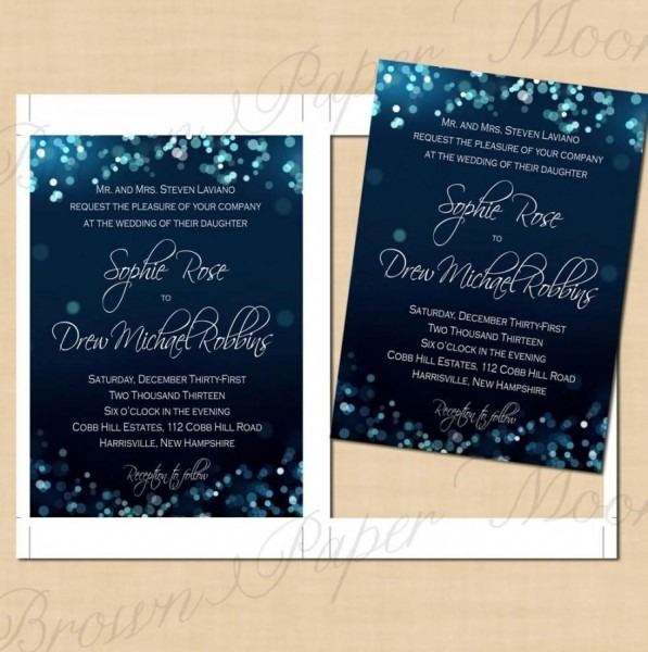 Midnight Blue Night Sky Wedding Invitations (5x7)  Text