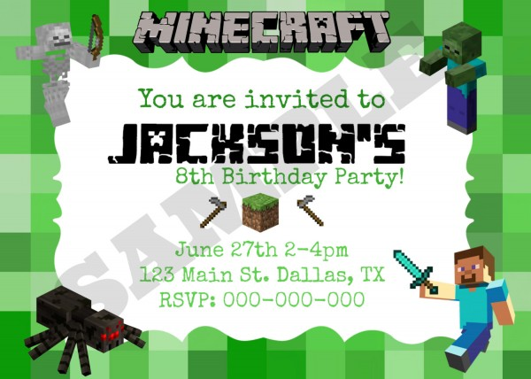 Minecraft Birthday Invitation Template And The Invitations Of The
