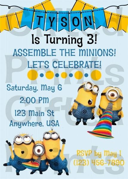 Minion Birthday Invitation Card Minion Birthday Party Invitations