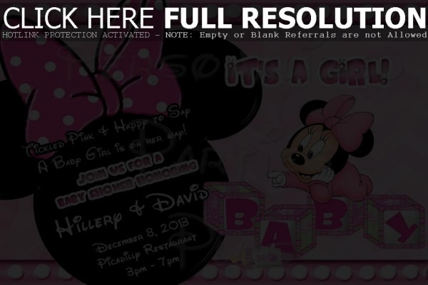 Minnie Mouse Baby Shower Invitations Free Templates Baby Minnie