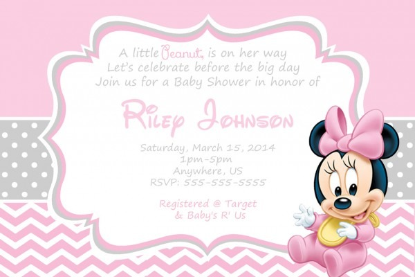 Minnie Mouse Baby Shower Invitations Wording