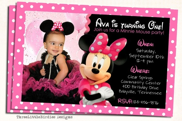Printed Baby Minnie Mouse First Birthday Party Invitations