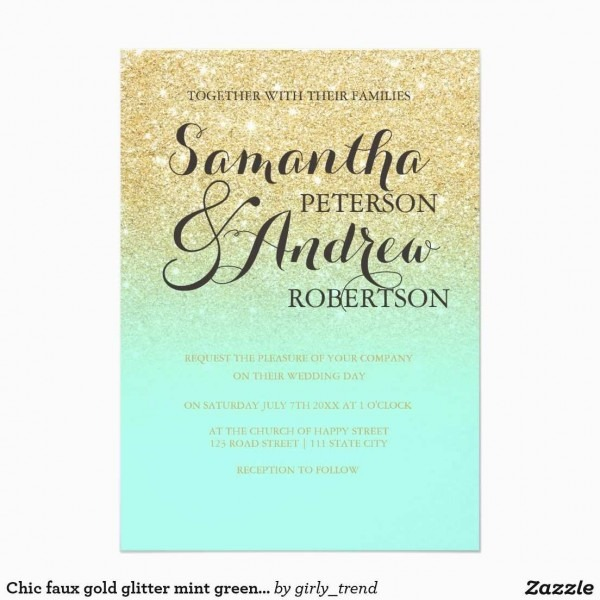 Mint And Gold Wedding Invitations Awesome Chic Faux Gold Glitter