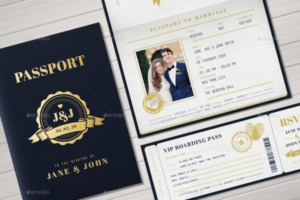 Passport Wedding Invitation By Vector_vactory