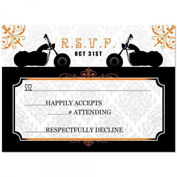 An Invitation Card  Motorcycle Biker Themed Wedding Rsvp