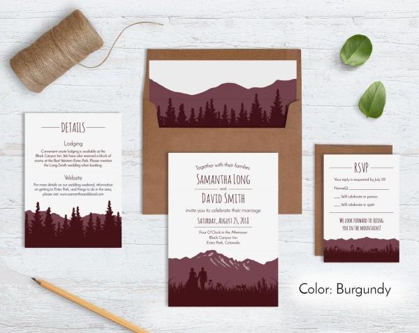 Rustic Mountain Wedding Invitation Sets