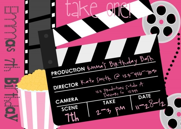 Movie Birthday Party Invitations Movie Birthday Party Invitations