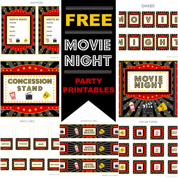 Free Movie Night Party Printables By Printabelle