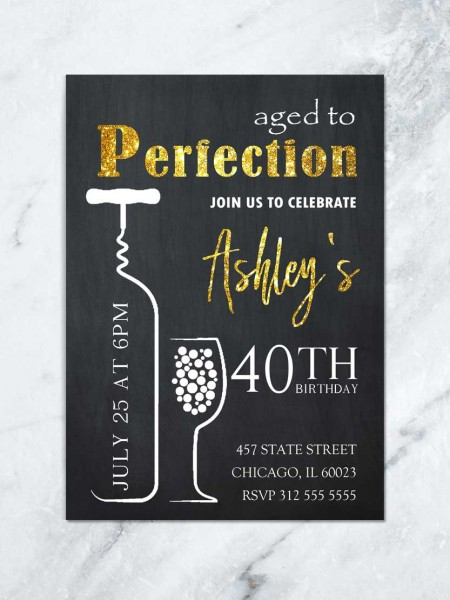Wine Birthday Invitation, Aged To Perfection, Wine & Cheese Invite