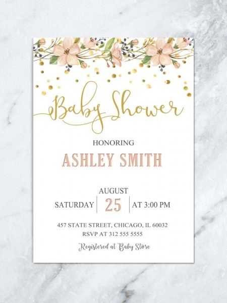 Floral Baby Shower Invitation, Garden Baby Shower Luncheon, Girl