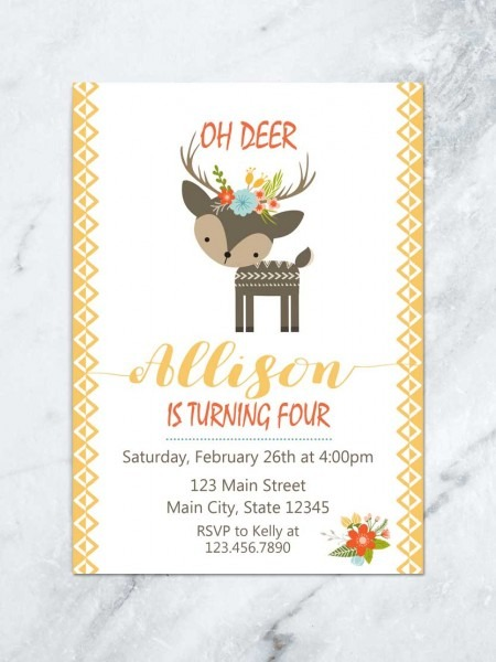 Woodland Birthday Invitation, Antlers Birthday Invite, Oh Deer
