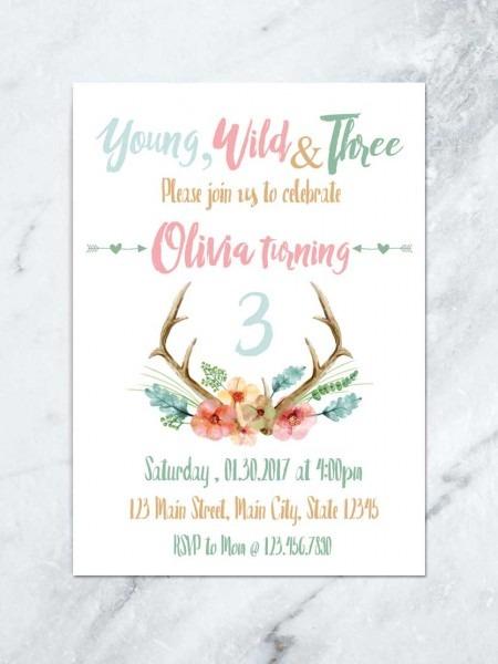 Young Wild And Three Birthday Invitation, Boho Antler Kids Invite