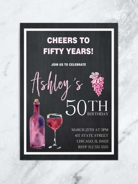 Cheers To 50 Years, Wine Birthday Invitation, Aged To Perfection