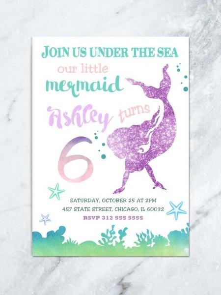 Mermaid Birthday Invitation, Under The Sea Invitation, Little