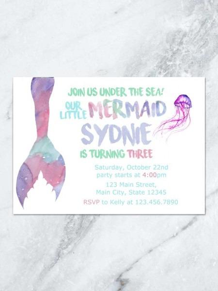 Mermaid Birthday Invitation, Under The Sea Mermaid Tail, Mermaid