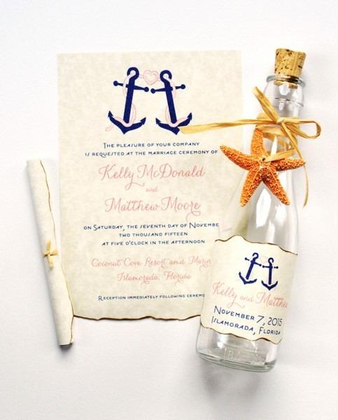Nautical Anchor Beach Bottle Wedding Invitations