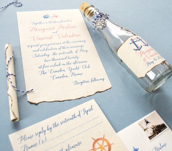 Nautical Message In A Bottle Wedding Invitation